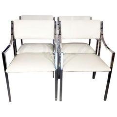 Italian Chrome and Leather Armchairs