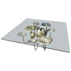French Brass and Gilt Lily Pad Coffee Table by Maison Honore