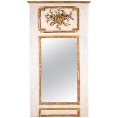 Antique Louis XVI Gilt Painted Trumeau Mirror