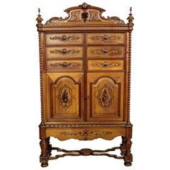 Neo-Renaissance Walnut Cabinet, circa 1900