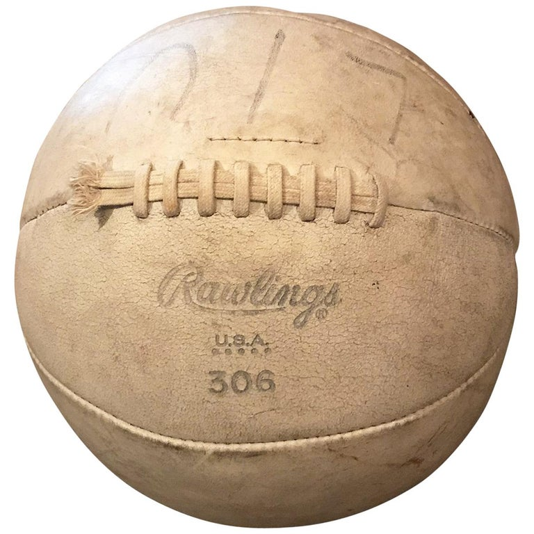 Vintage Rawlings White Leather Medicine Ball