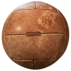 Vintage Tan Leather Medicine Ball