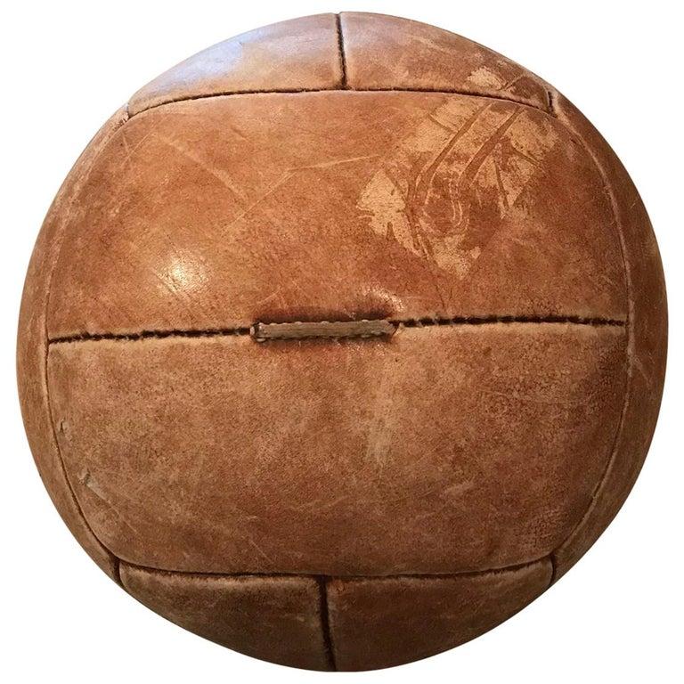 Vintage Tan Leather Medicine Ball