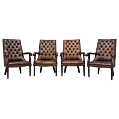 4 Chesterfield Chippendale Wing Chair Armchair Baroque Antique