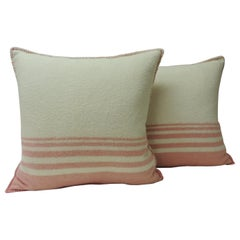 Pair of Vintage Pink and Natural Stripes English Wool Decorative Pillows