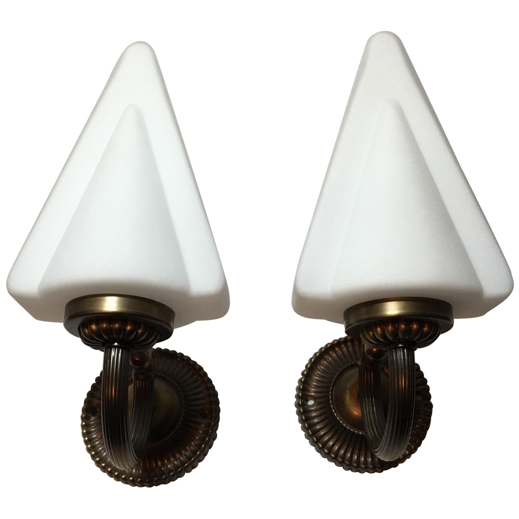 Unique Pair of 1970s French Art Deco Style Brass and Milk Glass Sconces