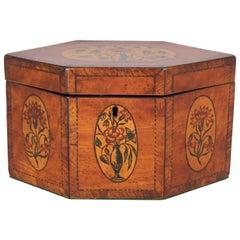 George III Satinwood Hexagonal Tea-Caddy