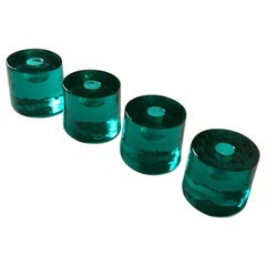 Four Midcentury Swedish Art Glass Candleholders by Chr. Sjögren for Lindshammar