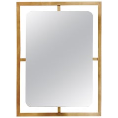 French Brass Wall Mirror, circa 1970