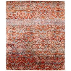 Contemporary Aqua Blue Indian Sari Silk Rug with Ikat Pattern