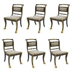 6 Black and Gold Regency Style Paw Feet Dining Chairs Leopard Fabric