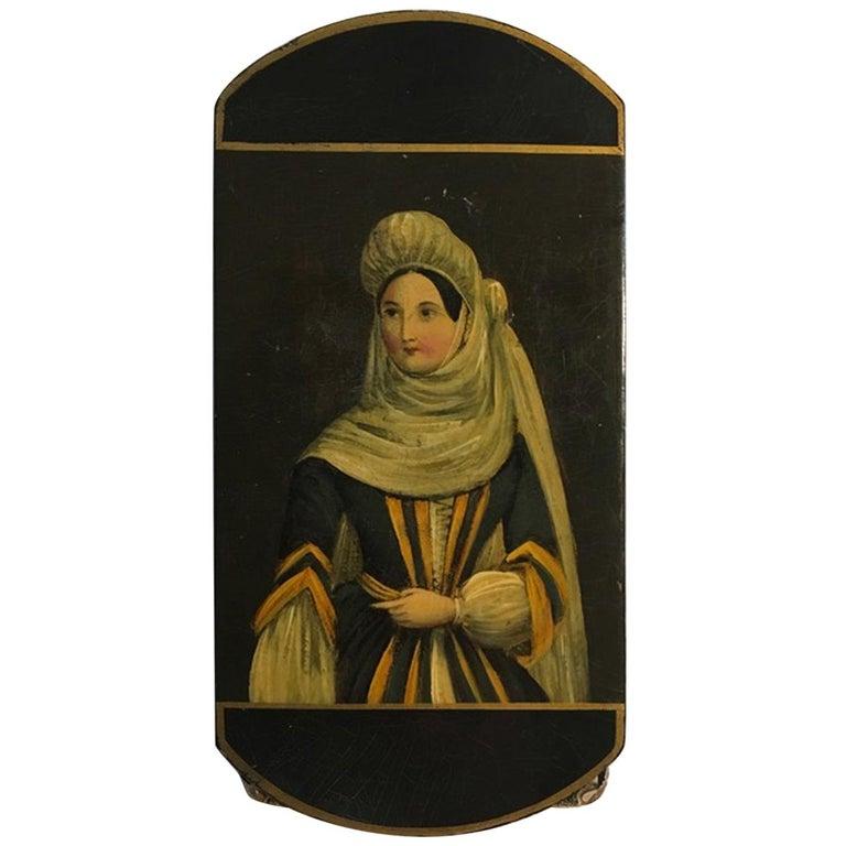 Mid-18th Century Antique Victorian Style Austrian Lacquered Portrait Wood Box