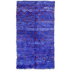 Vintage Indigo Beni M'Guild Moroccan Geometric Design Berber Rug