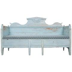 Swedish Gustavian 19th Century Blue Painted Sofa