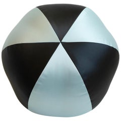 Round Ball Throw Pillow in Black and Blue Vinyl