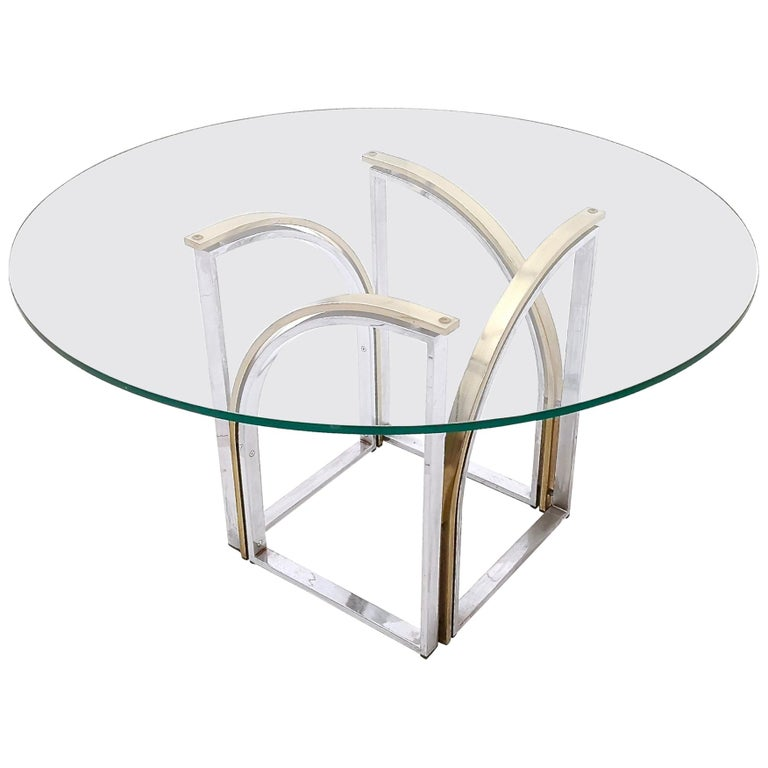 Round Brass and Steel Dining Table by Romeo Rega with Glass Top, Italy, 1970s For Sale