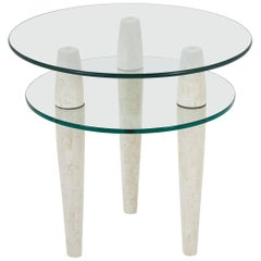 """Two-Tiered White Tessellated Stone """"Triad"""" Circular Side Table, 1990s"""