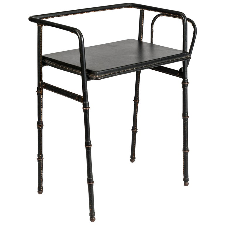 Side Table in Stitched Leather by Jacques Adnet