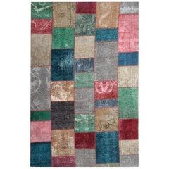 Vintage Rug Patchwork Carpet, Modern Rug Style, Interior Object Rainbow Rug