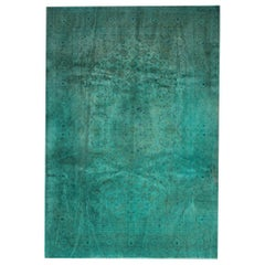 Overdyed Hand-Knotted and Hand-Painted Vintage Turquoise Blue Rug