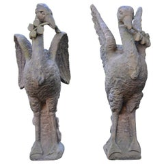 Pair of Carved Sandstone Birds