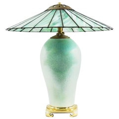 Art Deco Celadon Porcelain Mermaid Urn Lamp, Leaded Glass Slag Shade, Sea-foam