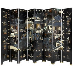 Fantastic Eight Panel Chinese Coromandel Folding Lacquered Screen