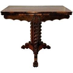 19th Century British Fold over Card Table with Tripod Barley Twist Columns