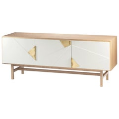 Sideboard Jazz in Oak Wood, Brass and Lacquer