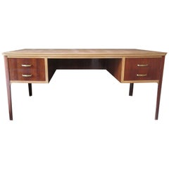 Midcentury Walnut Leather Writing Desk, 1950