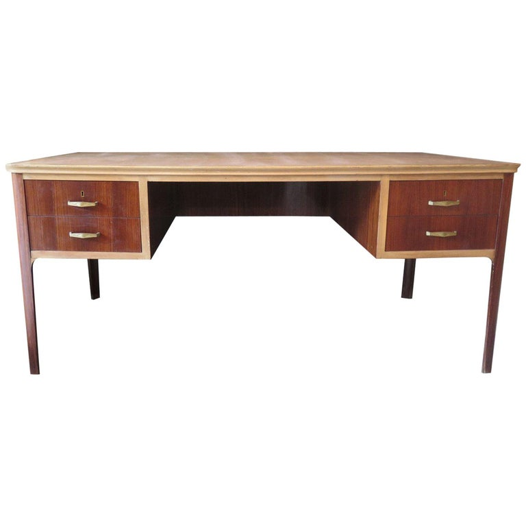 Midcentury Walnut Leather Writing Desk, 1950 For Sale