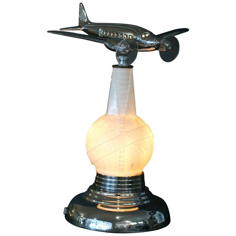 1939 World's Fair Lightup Bottle Airplane Lamp For Sale