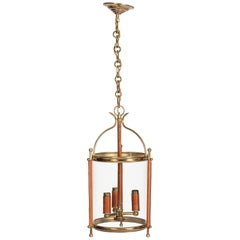Lantern in Stitched Leather and Brass by Jacques Adnet