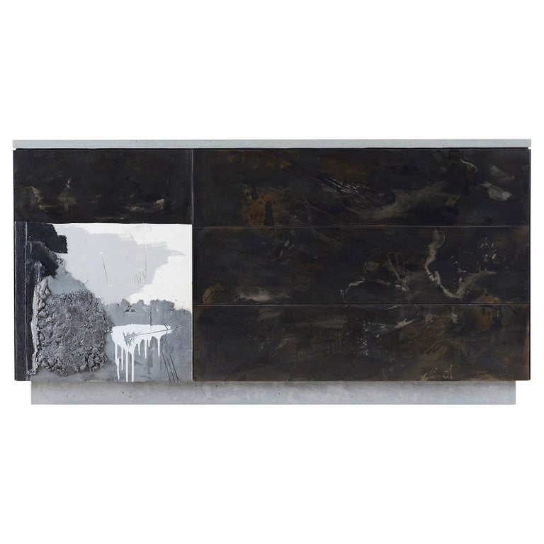 """Concrete, Patinated Steel, Wood, """"C-3"""" Minimal Credenza with Artist's Treatment"""