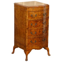 Art Deco Maurice Adams Stamped Grosvenor Burr Walnut Side Table Chest of Drawers
