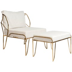 Very Nice Sculptural Bronze Armchair and Ottoman in the Style of Felix Agostini