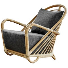 1930s Design Rattan Lounge Armchair