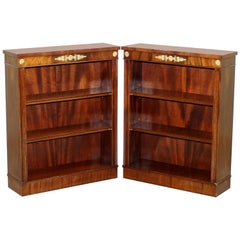 Pair of Handmade in England Regency Style Dwarf Mahogany Library Bookcases