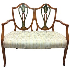 Edwardian Settee Satinwood with Painted Work, Mid-20th Century