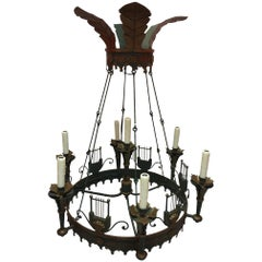 Green Tole Empire Style Seven-Light Chandelier, circa 1960s