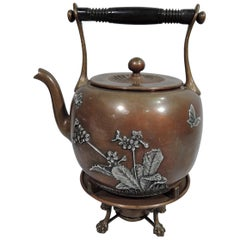 Gorham Aesthetic Japonesque Mixed Metal on Copper Tea Kettle on Stand