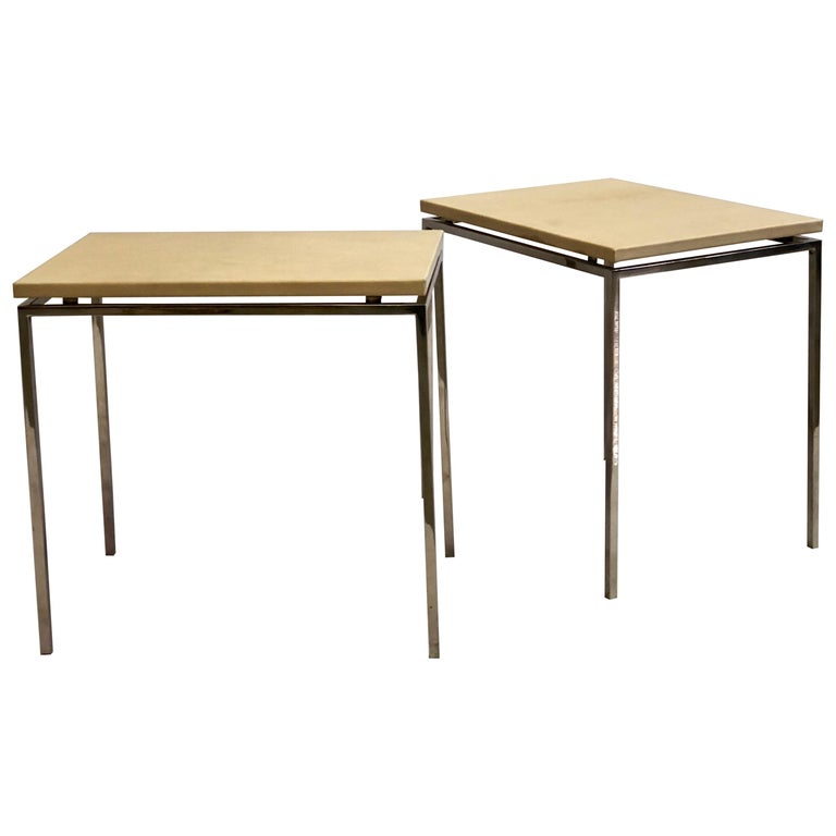 French Midcentury Nickel & Parchment Leather Side Tables Ramsay Attributed, Pair For Sale