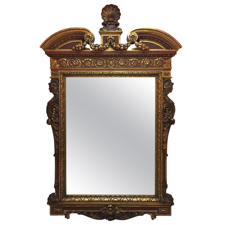 Gold Leaf Wood Carved Mirror with Figures on Each Side and Top Shell, circa 1890 For Sale