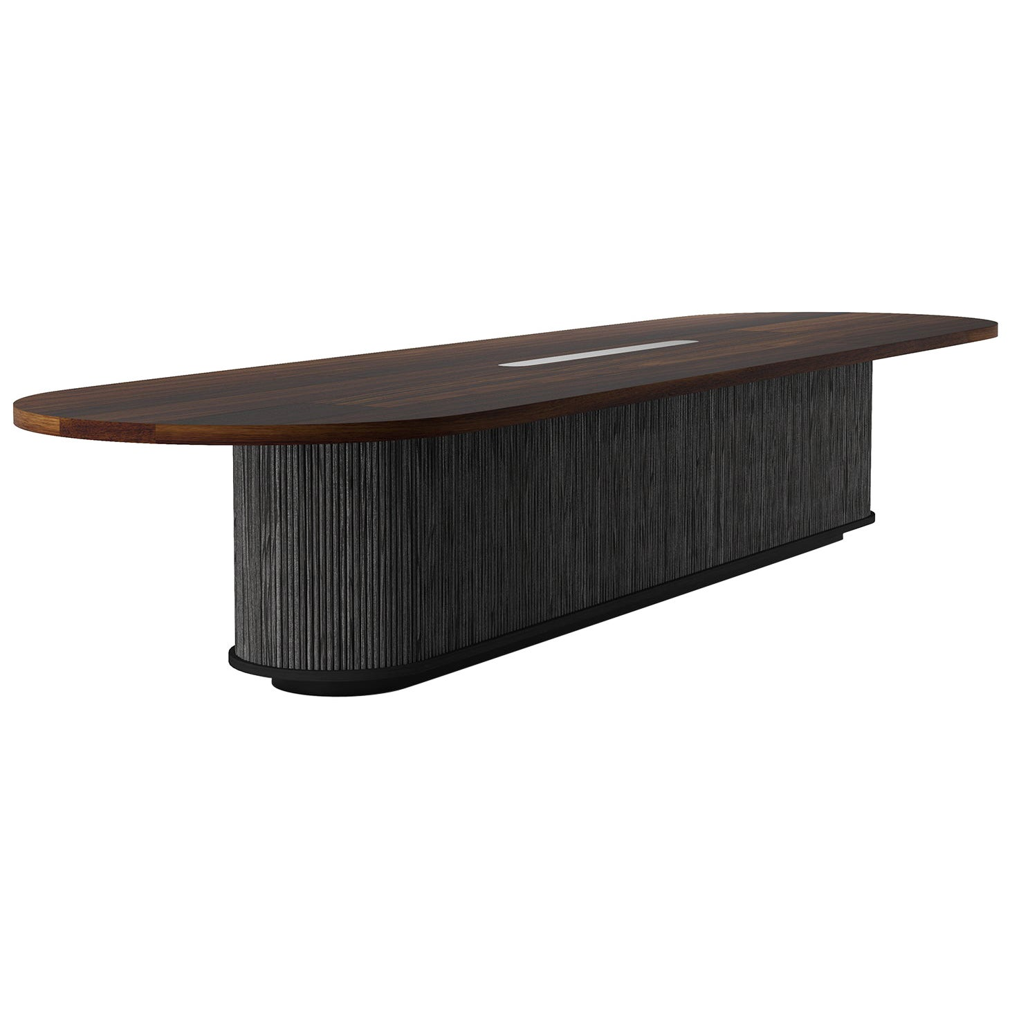 """Custom """"Radius"""" Conference Table with Solid Wood Top and Tambour Wood Base"""