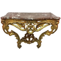French Louis XV Gilded Carved Wood Console with a Marble Top, 19th Century