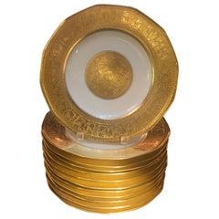 Set of 12 Haviland French Gold Encrusted Service Dinner Plates