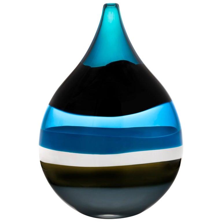 Modern Blown Glass Vase, 6 Banded Blue Flat Teardrop by Siemon & Salazar For Sale