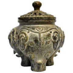 Antique Elephant Bronze Incense Burner, Candleholder