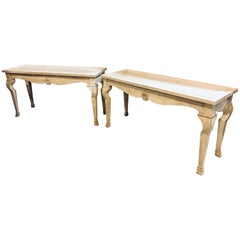 Pair of Custom Quality Hollywood Regency Style Center Console Tables Distressed