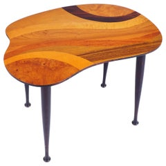 Side Table with Inlaid Wood Top